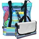 Beach Bag with Lightweight Fold Up 5'x6'Beach Mat & built-in cooler