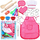 3 otters 27pcs Kids Chef Role Play Costume Set, Kids Apron Set Chef Hat for Little Girls Toddler Cooking and Baking Set…