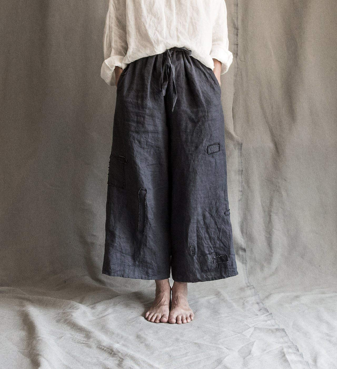 138502967427 Top2  Linen pants linen trousers linen womens clothing wide linen pants  linen culottes short linen pants summer linen pants patched linen pants