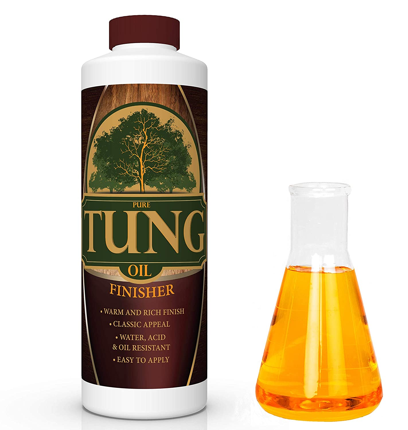 100% Pure Tung Oil Finish Wood Stain & Natural Sealer for All Types of Wood (32 oz)