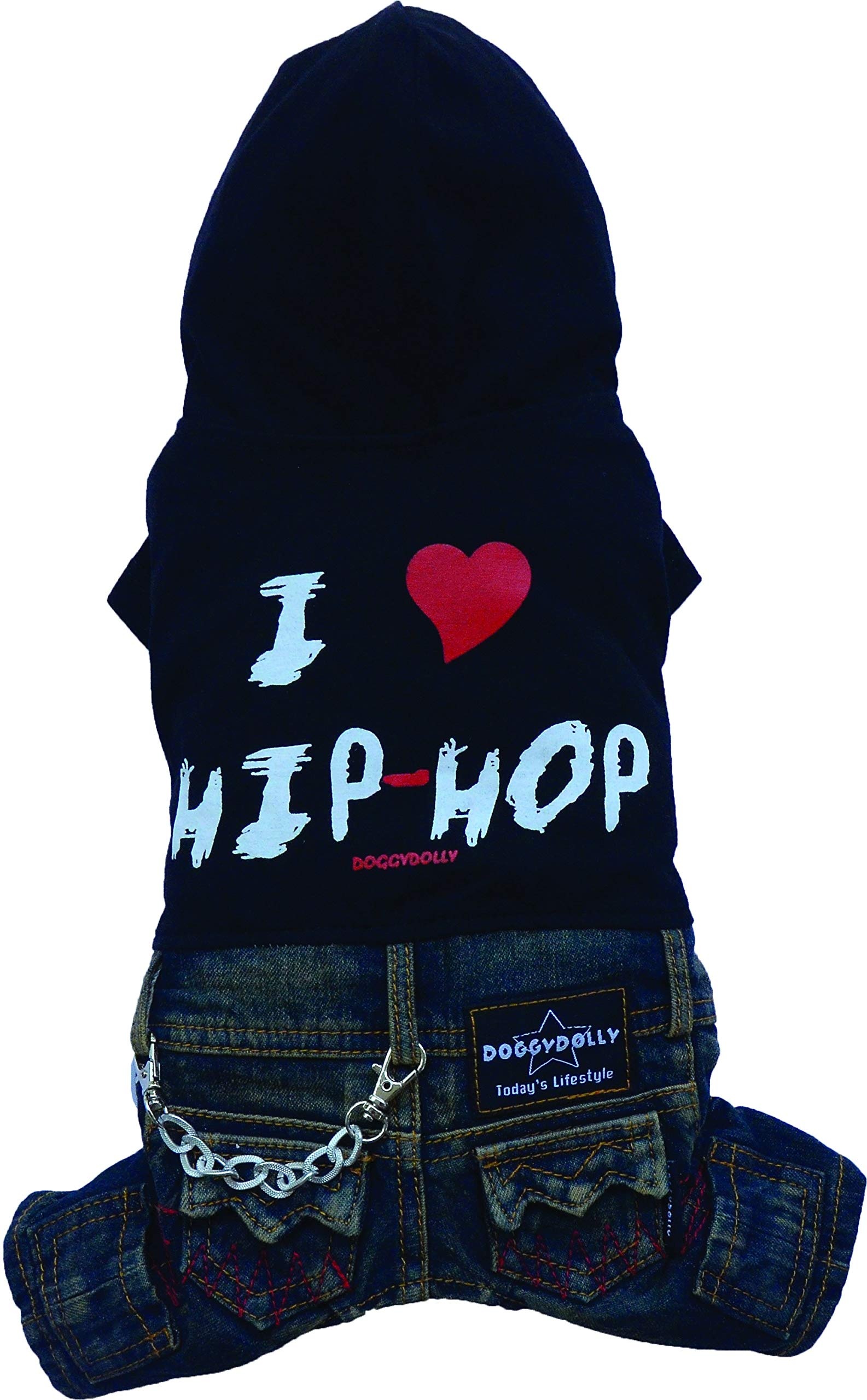 DoggyDolly Authentic Hip Hop Hooded Jump Suit, XX-Large