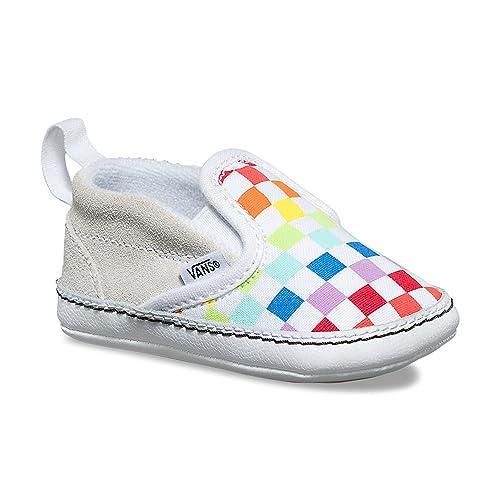 401af25d897f49 Vans Infant Slip-On V Crib (Checkerboard) Rainbow True White VN0A2XSLU09  Crib Shoes  Amazon.ca  Shoes   Handbags