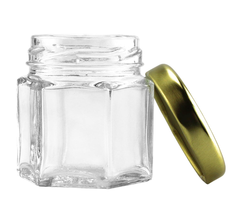 Amazon.com: 24 Mini Hexagon Glass Jars, 1.5oz Hex Jars (24-Pack ...