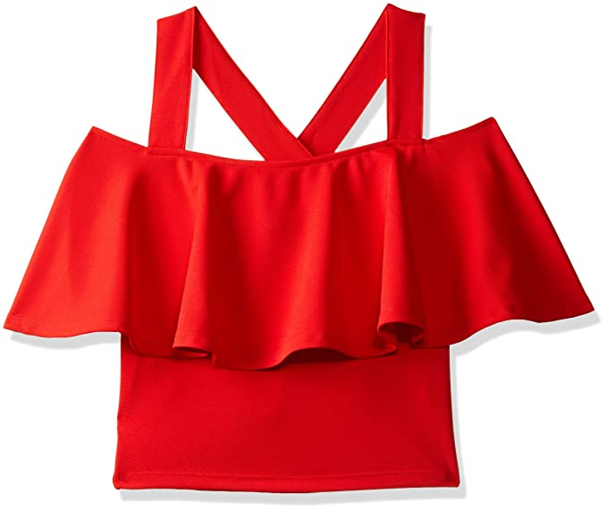 bcd1ce2b20bf5d Veni VIDI VICI Red Frilled Strappy Crop Top  Amazon.in  Clothing ...