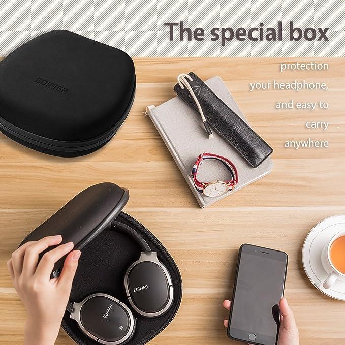 Edifier W830BT - Auriculares Bluetooth con cancelación de ruido y micrófono para juegos, viajes, trabajo, deportes, con funda para auriculares ...