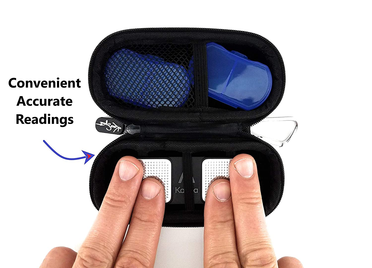 Carry Case For the Alivecor Kardia Mobile EKG Home Heart Monitor Health Machine|Portable Travel on the go Safety Includes a Velvet Protective Pouch with Extra Day /& Night Pill Organizers By KooSpirit