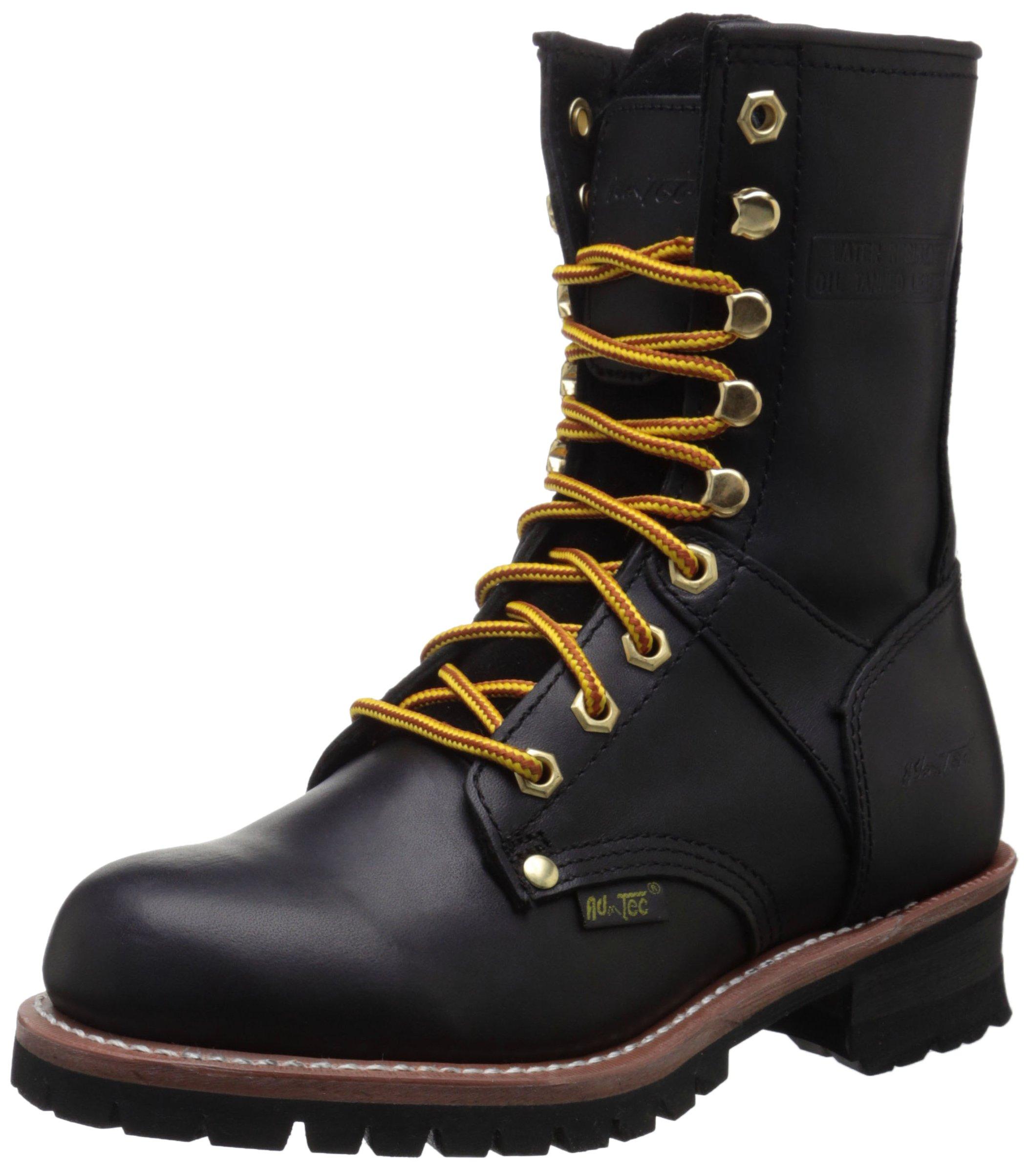 Adtec Women's 9'' Logger Work Boot, Black, 7.5 M US