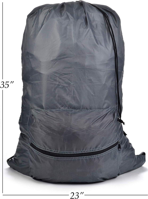 Travel or Sports Bag. Secure Drawstring Closure Two Hanging Loops Backpack Drawstring Laundry Bag Large Front Zippered Pocket Overnight Adjustable Comfort Shoulder Straps Great for Camping