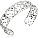 "Sterling Silver Filigree Cuff Bracelet, 7.25"""