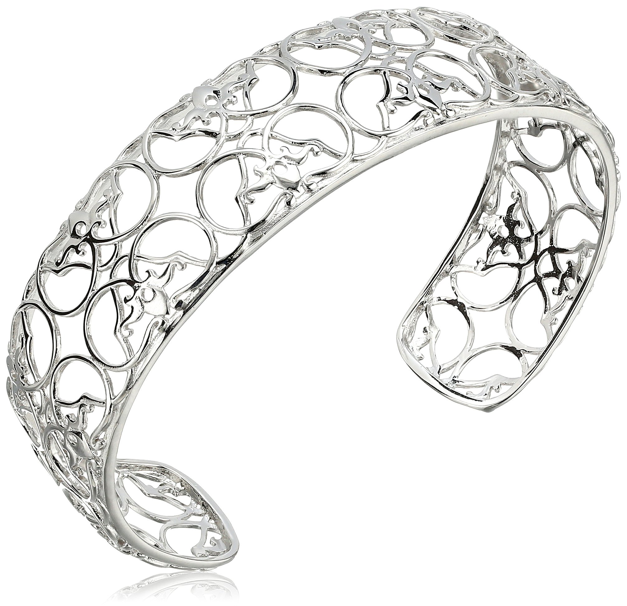 Sterling Silver Filigree Cuff Bracelet, 7.25''