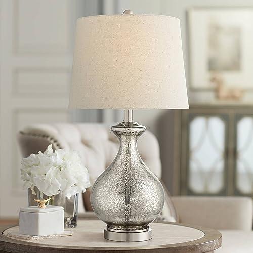 Albert Modern Table Lamp Gourd Mercury Glass Oatmeal Tapered Drum Shade for Living Room Bedroom Bedside Nightstand Office Family – 360 Lighting