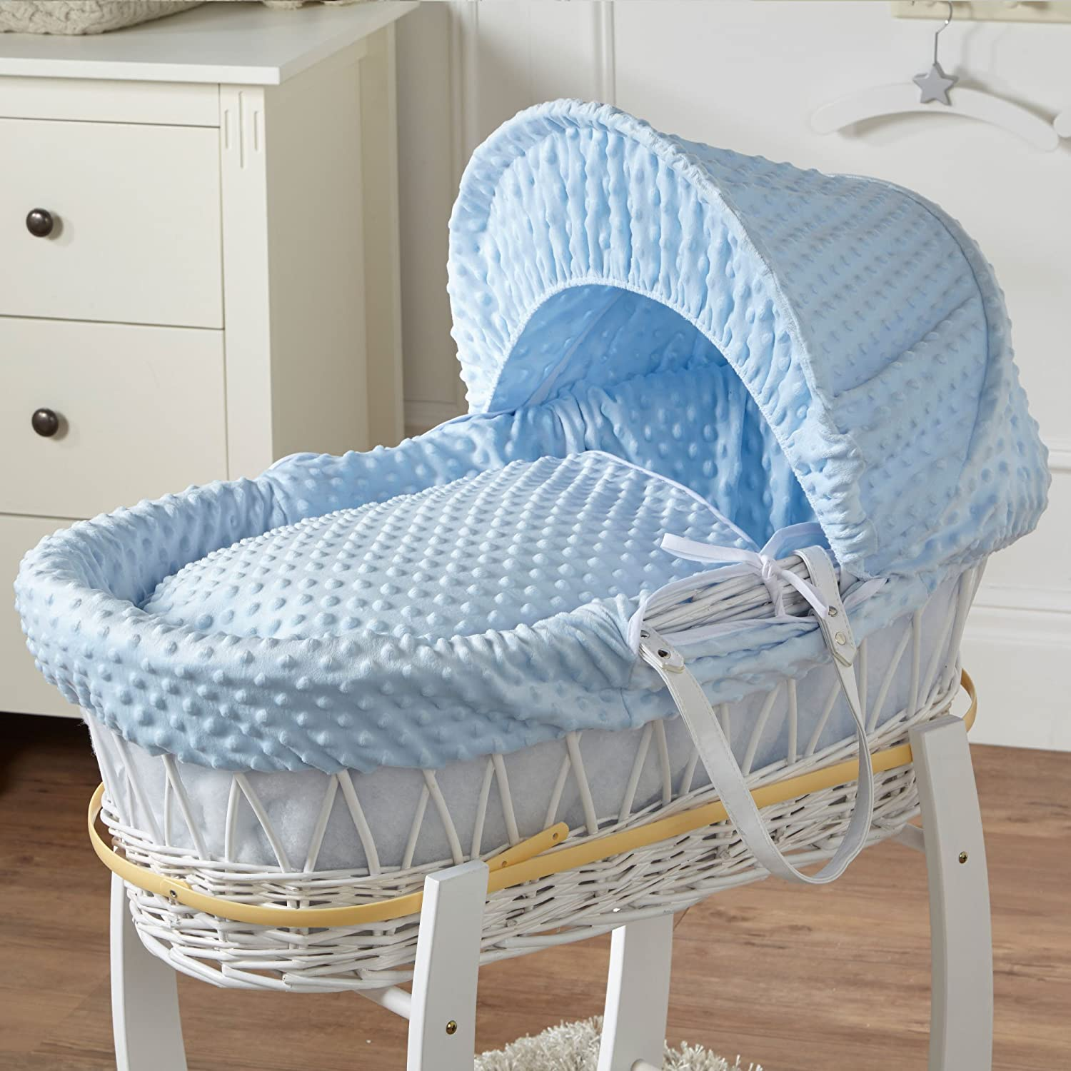 Blue Dimple White Wicker Moses Basket For-Your-Little-One
