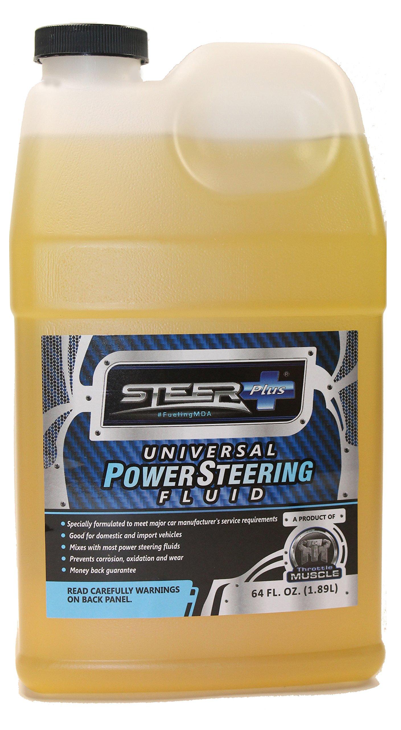 Throttle Muscle TM7587 - Steer+ Plus Universal Power Steering Fluid 64 Oz Import and Domestic Universal Heavy Duty