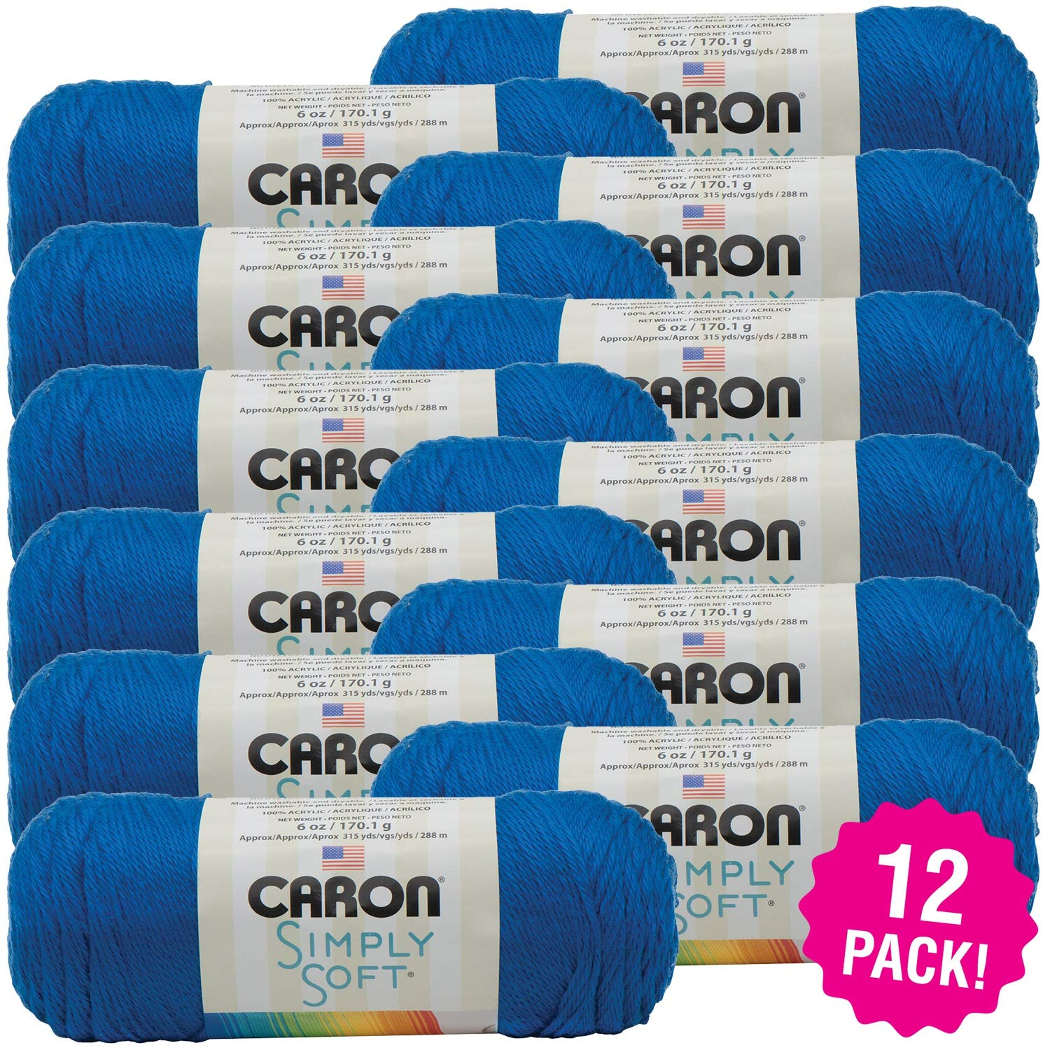 Caron 98058 Simply Soft Solids Yarn-Royal Blue, Multipack of 12, Pack