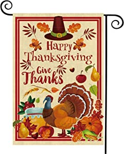 Thanksgiving Garden Flag Vertical Double Sided Fall Gives Thanks Flag Turkey Pumpkin Autumn Leave Fruits Burlap Thanksgiving Decoration for Home,Garden,Lawn,Yard