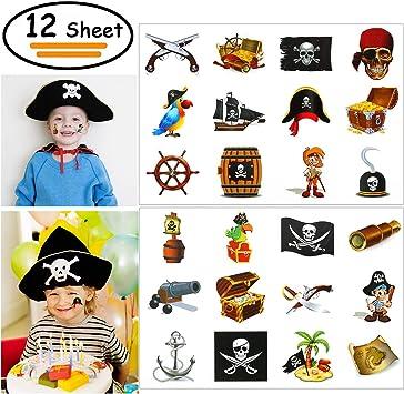 Vibury Pirata Tatuajes Temporales para niños, 12 Hojas 144 Piezas ...