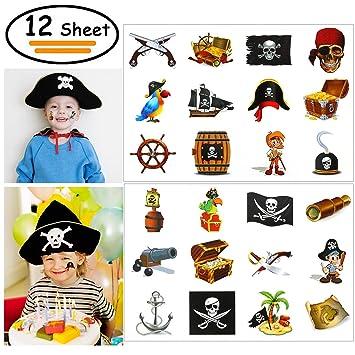 Vibury Pirata Tatuajes Temporales para niños, 12 Hojas 144 Piezas Pirata Falso Tatuaje Temporal Pegatinas para Artículos de Fiesta Pirata cumpleaños