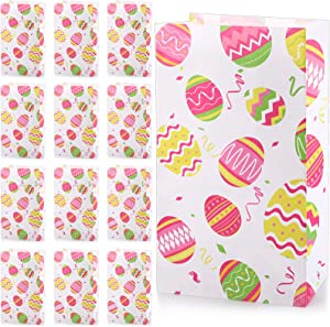 28 Pieces Easter Day Treat Bags, Kraft Paper Colorful Easter Eggs Printed Easter Gift Bags Candy Cookie Goodie Bags for Spring Easter Day Party Favor Supplies, 8.3 x 4.7 x 3.1 Inch