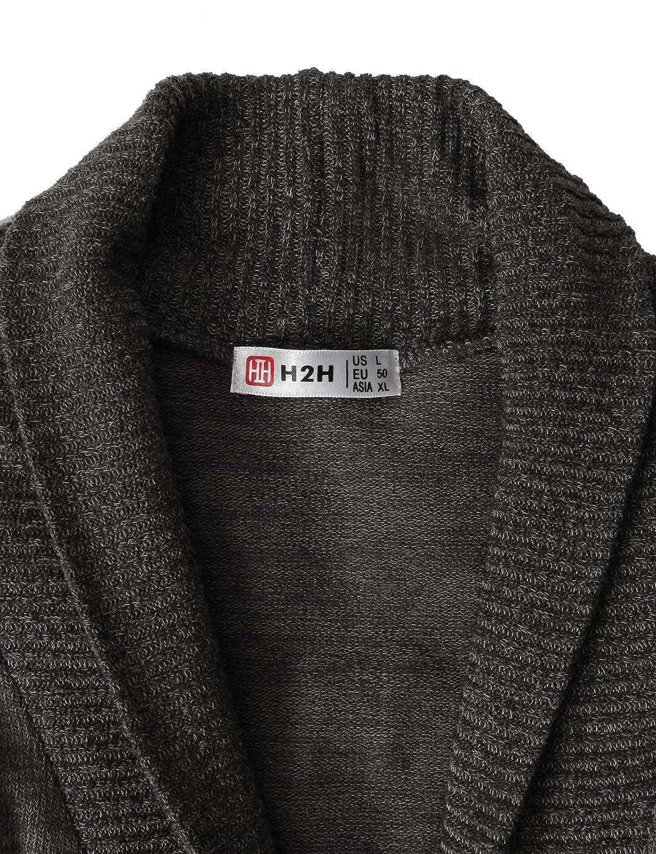 H2H Mens Slim Fit Cardigan Sweater Shawl Collar Soft Fabric with Ribbing Edge