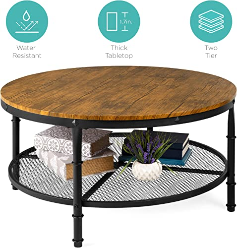 Best Choice Products 2-Tier 35.5in Round Industrial Coffee Table, Rustic Steel Accent Side Table for Living Room, w Wooden Tabletop, Reinforced Crossbars, Padded Feet, Open Shelf, Raised Bottom