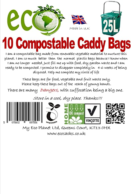25-30 Litre Compostable Bags For Kerbside Caddy Bin Liners x 40 ...