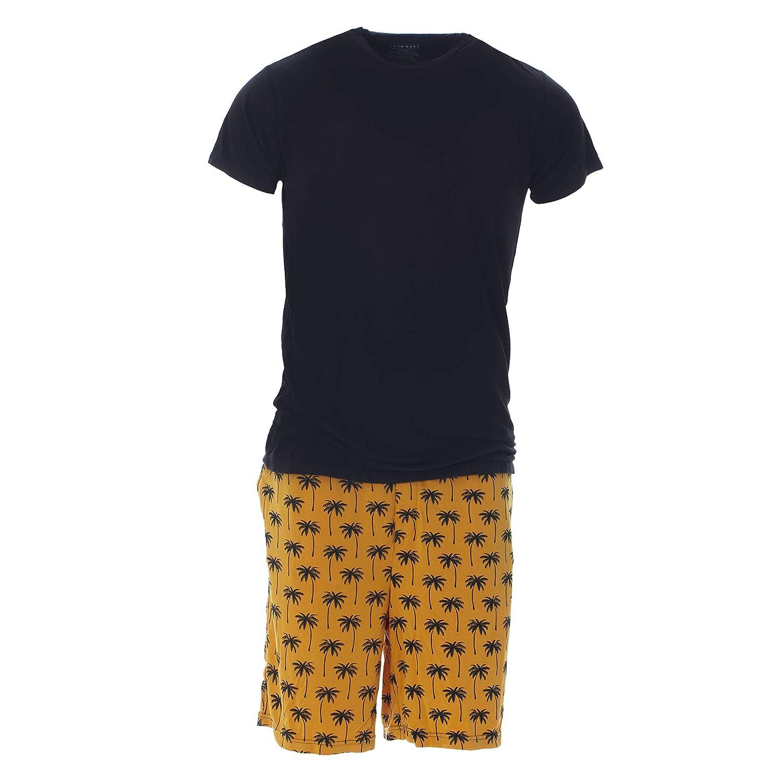 XL KICKEE Mens Print Short Sleeve Pajama Set with Shorts in Apricot Palm Trees