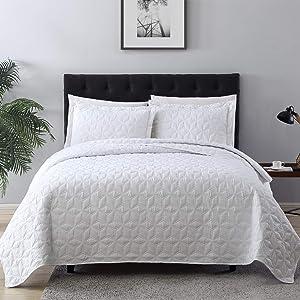 EXQ Home Quilt Set Full/Queen Size White 3 Piece,Lightweight Hypoallergenic Microfiber Coverlet Modern Style Diamond Pattern Bedspread Set
