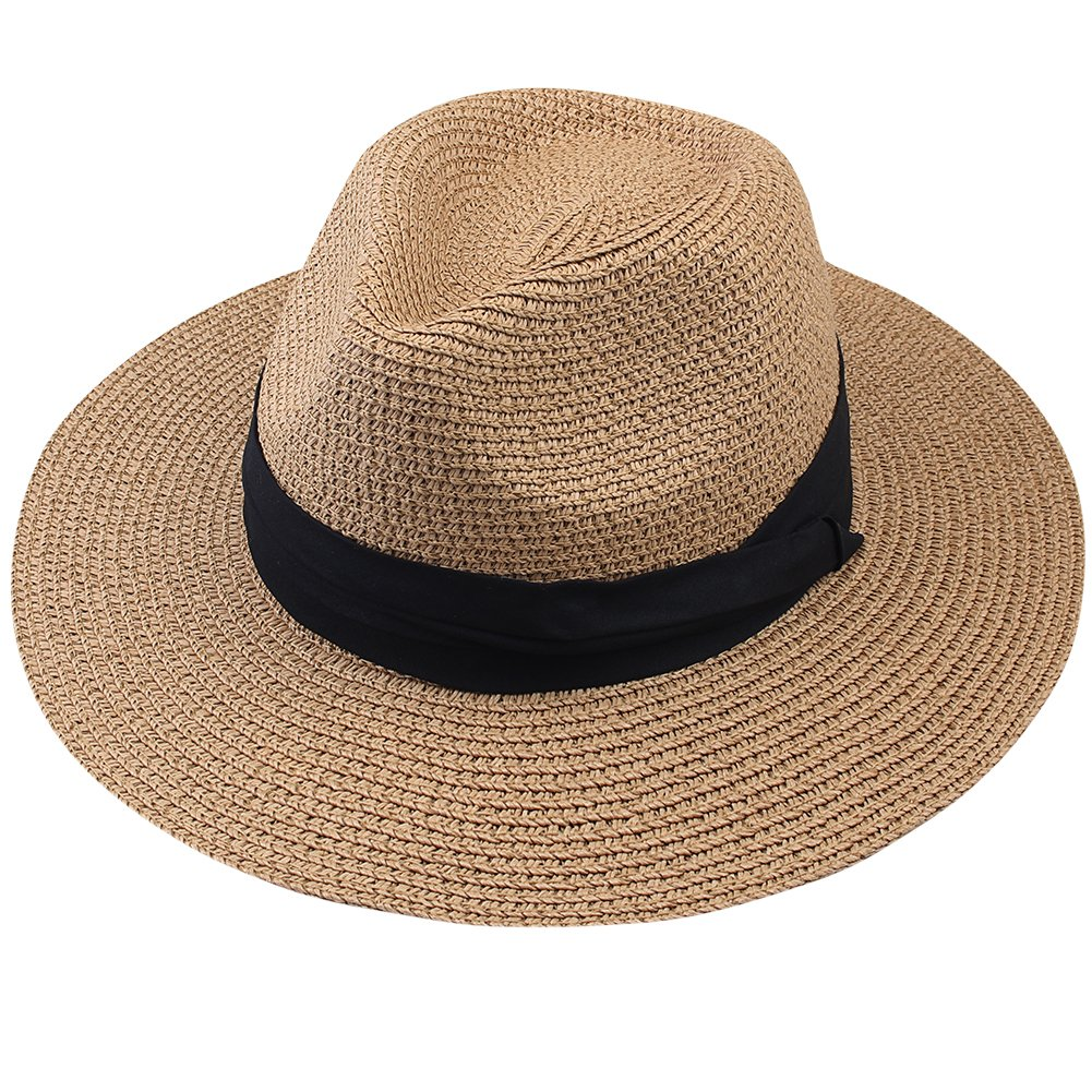 Summer Panama Straw Fedora Hat Wide Brim Beach Sun Hat with Neck Cord