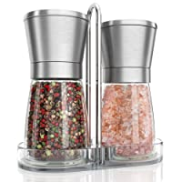 Salt and Pepper Mill Set with Ceramic Grinder + Stand – 2 Refillable Empty Design Spices Crushers I Stainless Steel Manual Herbs Dispenser + Glass Pots with Adjustable Ceramic Grinders I Coarse & Fine