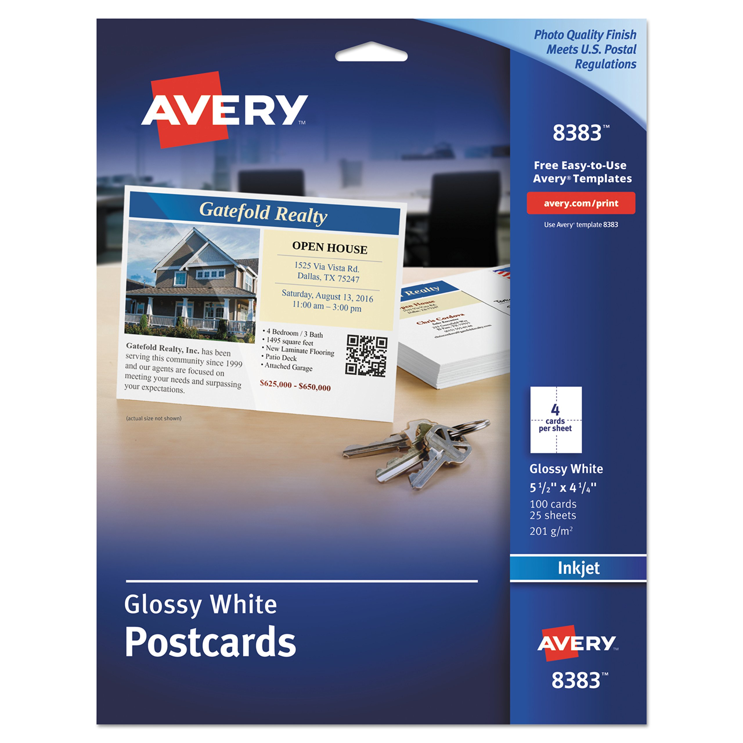 Avery 8383 Photo-Quality Glossy Postcards for Inkjet Printers, 4 1/4 x 5 1/2, White (Pack of 100) by AVERY