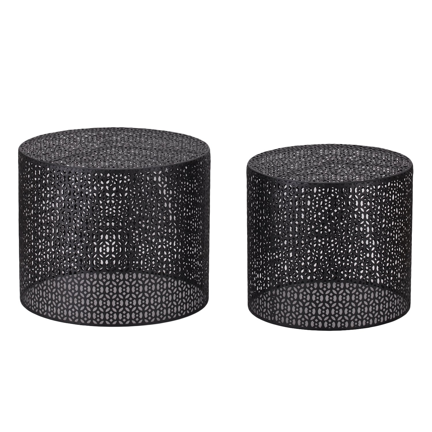 Adeco Round Nesting Side/End/Coffee Table, Black, Set of 2 by Adeco