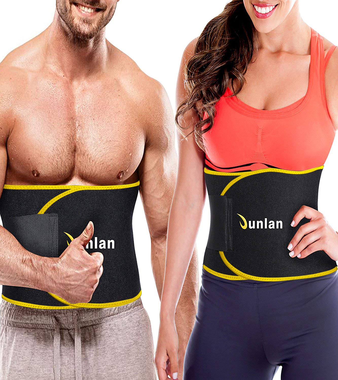 Junlan Workout Waist Trainer Weight Loss Trimmer Belt Corset Exercise Body Band Gym Sauna Sweat Wrap Sport Slimming Abs Belts (Yellow Waist Trimmer Training Belt, M)