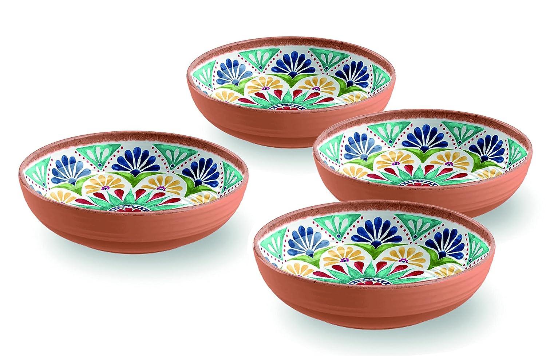 Terracotta Mediterraner Stil Melamin Picknick/Barbecue/Buffet Outdoor Esstisch Fruit Salat/Müslischale/Suppenteller/Pastateller Schüssel–Set von 4