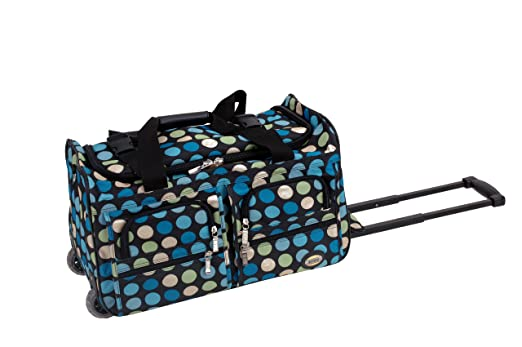 Rockland Luggage 22 Inch Rolling Duffle Bag, Mulblue Dot, Small