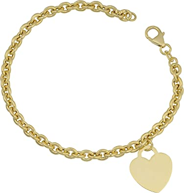 7.25 14k White and Yellow Gold Rolo Heart Charm Bracelet