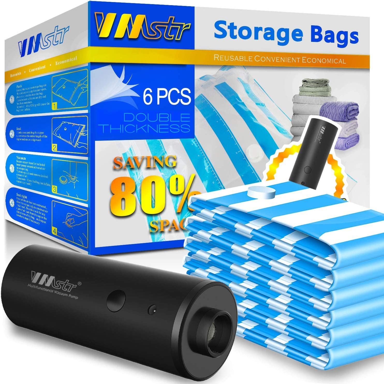 6pcs Vacuum Storage Bags Hand Pump Travel Space Saver Compressed Sealer Clothes