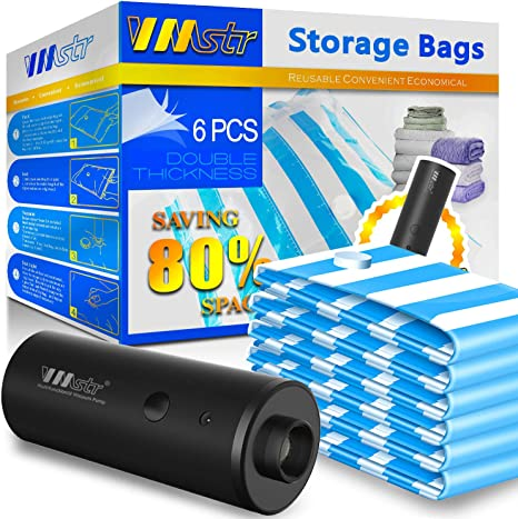 Reusable Vacuum Compression Space Saver Bags for Clothes Duvets VMSTR Vacuum Storage Bags with USB Electric Pump Mattress Pillows Blanket