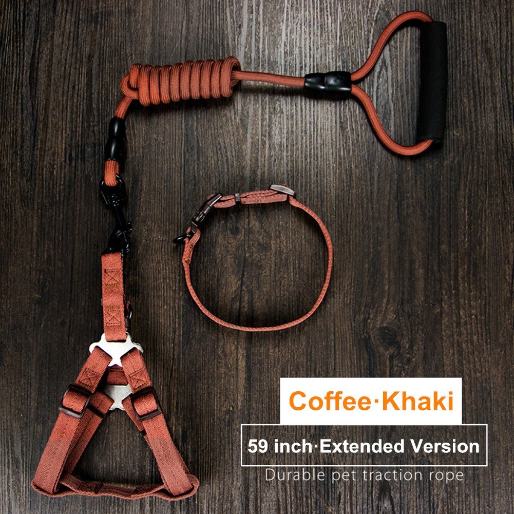 Coffee Khaki S Coffee Khaki S PETGADS Dog Leash with Adjustable Harness and Collar Set Perfect for Daily Training Walking Running Professional Rock Climbing Rope 4.9 Ft (S, Coffee Khaki)