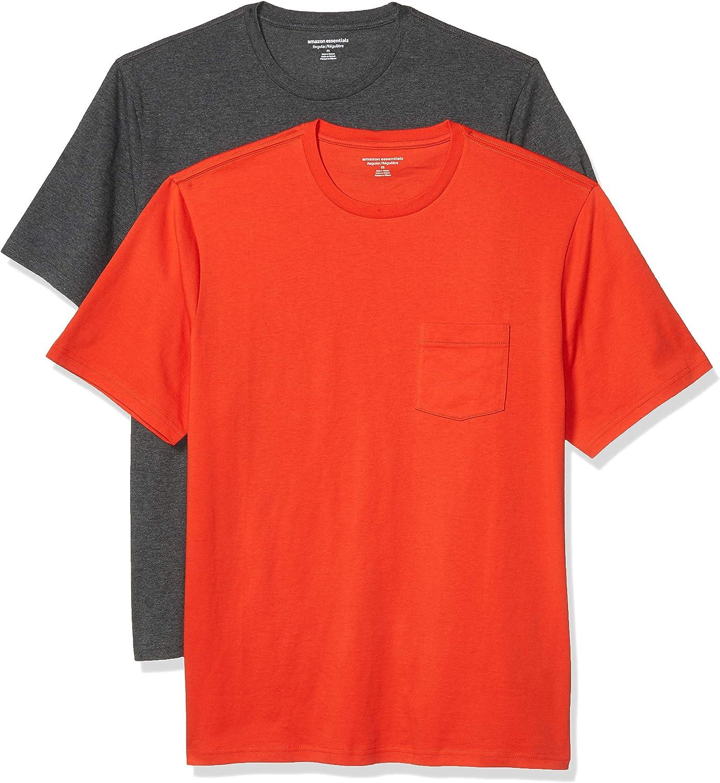 Amazon Essentials Men's 2-Pack Regular-Fit Short-Sleeve Crewneck Pocket T-Shirt