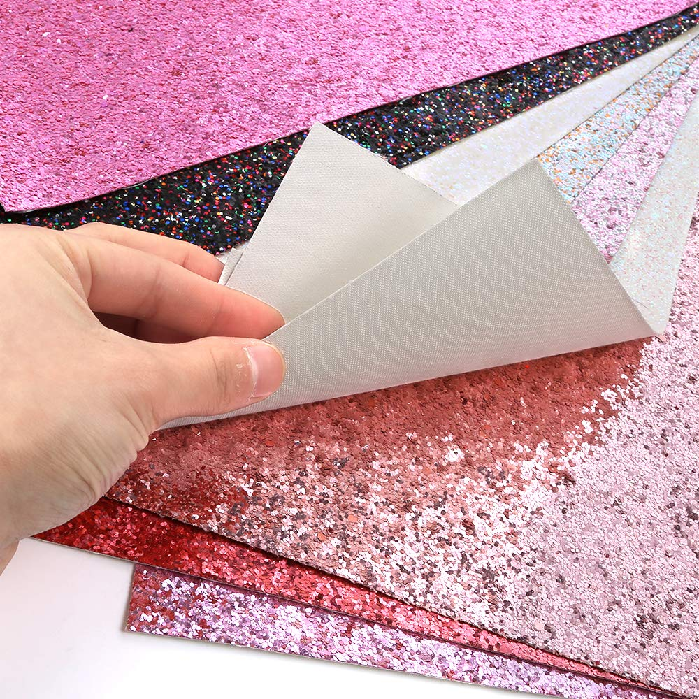 Caydo 9 Colors Accessories Super Shiny Chunky Glitter Stereoscopic Sequins Faux Leather Sheets Canvas Back for Craft DIY, Hair Clips Making, Earrings Making 12.6 x 8.6 Inch (32 x 22 cm) by Caydo (Image #6)