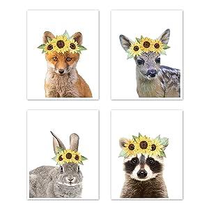 Sweet Jojo Designs Sunflower Woodland Forest Animal Wall Art Prints Room Decor for Baby, Nursery, and Kids - Set of 4 - Fox Deer Bunny Raccoon Yellow Boho Watercolor Floral Flower