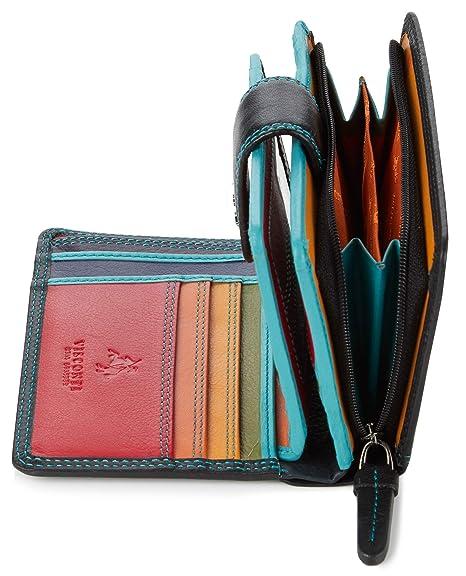 Visconti Monedero doble de cuero con múltiples bolsillos ...