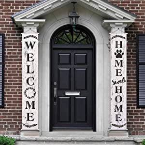 2 Pieces Welcome Home Banner Vertical Welcome Signs for Front Porch, Home Sweet Home Welcome Navy Army for Party Home Indoor Outdoor Decorations
