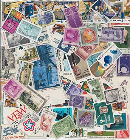 STAMP COLLECTORS! Nice Large Lot of 100 Vintage Mint US Postage Stamps -  All Stamps are New, Mint Condition ~ Each Packet is different! (Reference