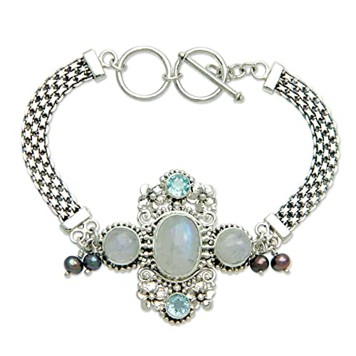 NOVICA Cultured Peacock Pearl and Moonstone .925 Sterling Silver Bracelet Regal Gianyar , 7-7.5