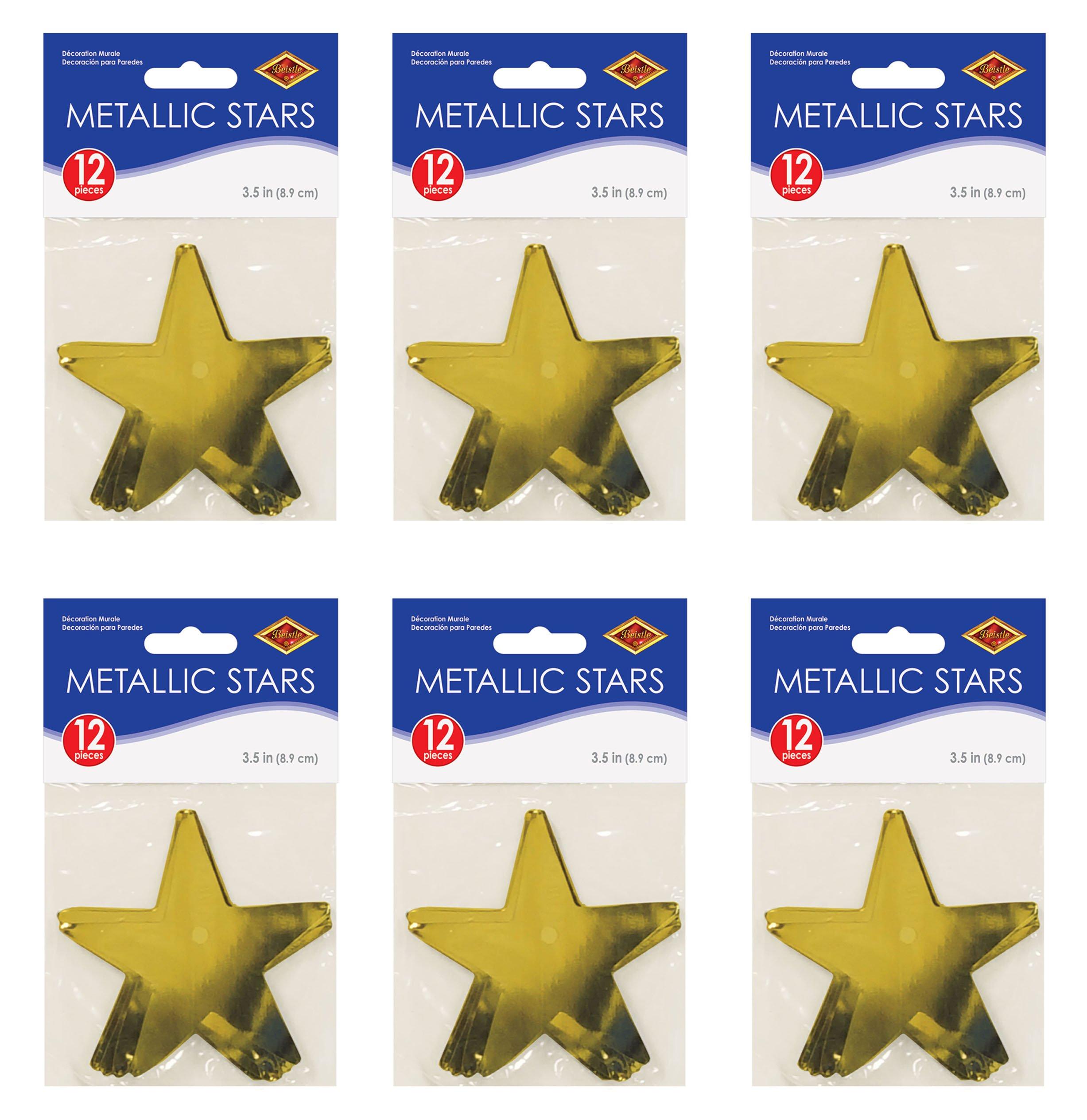 Beistle S57027-GDAZ6 Metallic Star Cutouts 72 Piece, Gold by Beistle