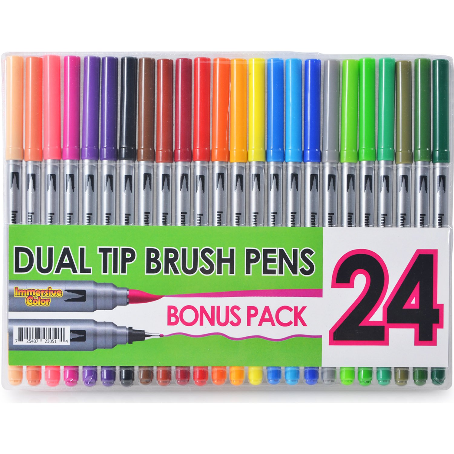 Immersive Color Dual Tip Brush Pens with Fineliner Tip (Pack of 24) 24 Brush Pens