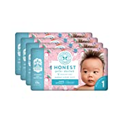 The Honest Company Baby Diapers with True Absorb Technology, Snow Bunnies, Size 1, 140 Count