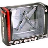 Richmond Toys 1:100 Scale Sky Wings Boeing P-51 Mustang WWII Aircraft Die-Cast Model with Authentic Details