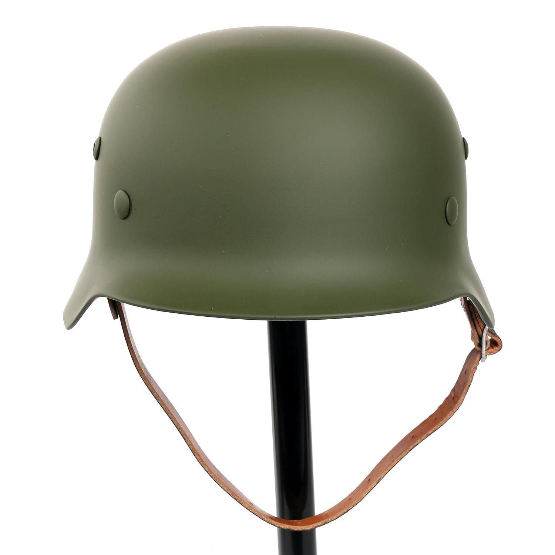 Yaetek Casque Acier Stahlhelm Noir WW2 Elite Armé e allemande M35 M1935 avec doublure en cuir et jugulaire (Vert militaire) Yaemart Corportation